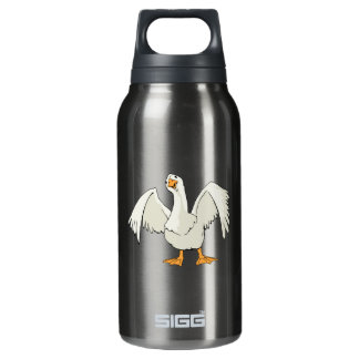 White Cartoon Goose Holding Up Its Wings Insulated Water Bottle
