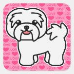 White Cartoon Havanese Love Square Sticker