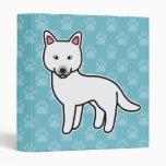 White Cartoon Siberian Husky 3 Ring Binder