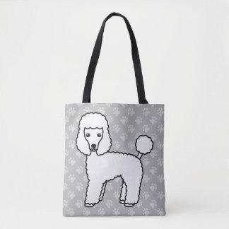 White Cartoon Toy Poodle Dog Breed Drawing Tote Bag