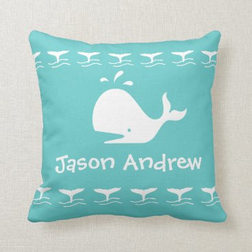 Beach Themed White CARTOON whale  blue Personalized Baby Throw Pillow