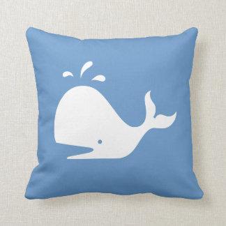 white CARTOON whale  on  blue pillow