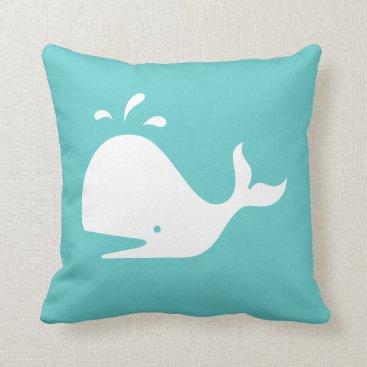 Beach Themed white CARTOON whale  on teal blue pillow