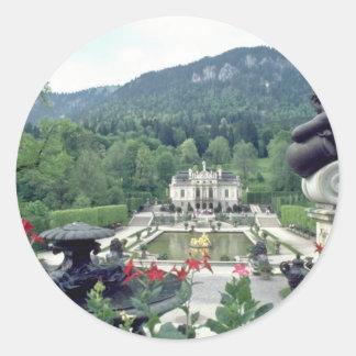White Castle Linderhof flowers Classic Round Sticker