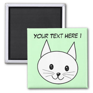 White Cat 2 Inch Square Magnet