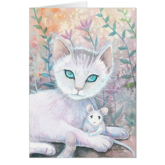 White Cat and Mouse Card
