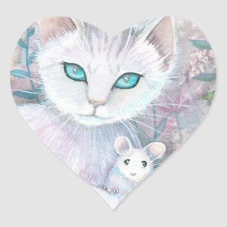 White Cat and Mouse Heart Stickers