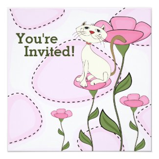White Cat and Pink Flowers Birthday Invitation