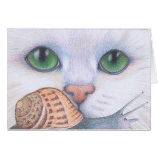 White cat and snail card