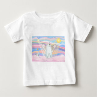White Cat Angel in Clouds Baby T-Shirt