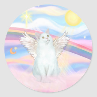 White Cat Angel in Clouds Classic Round Sticker