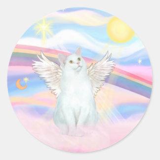 White Cat Angel in Clouds Classic Round Sticker
