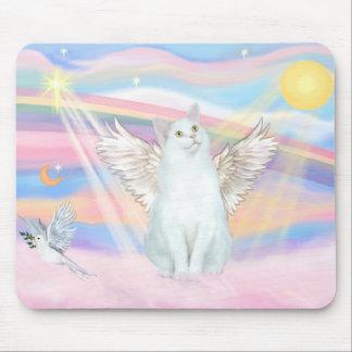 White Cat Angel in Clouds Mouse Pad