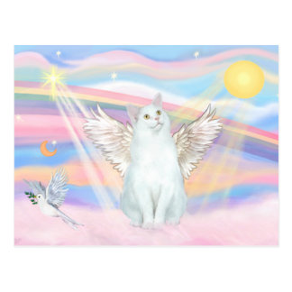 White Cat Angel in Clouds Postcard