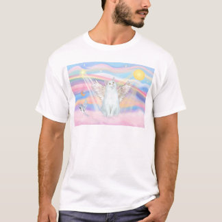 White Cat Angel in Clouds T-Shirt