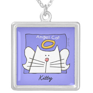 White Cat Angel Personalize Square Pendant Necklace