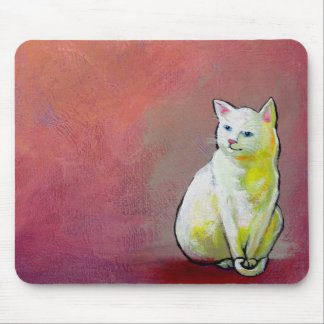 White cat art fun painting Whitey sitting pretty Mouse Pad