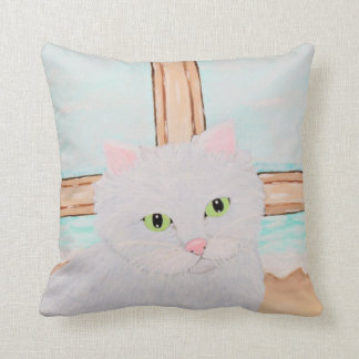 White Cat at the Beach Throw Pillow