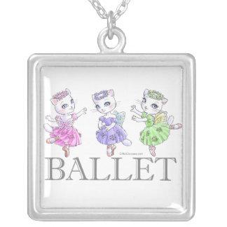 White cat ballerina necklace