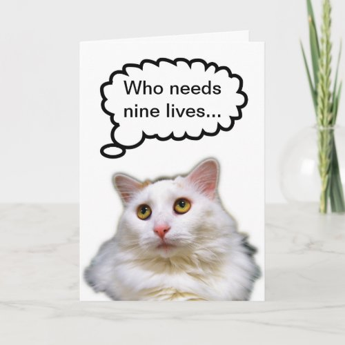 White Cat Birthday Nine Lives Card