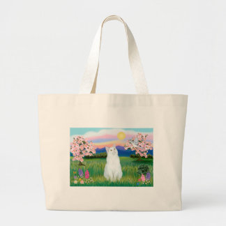 White Cat - Blossoms Large Tote Bag