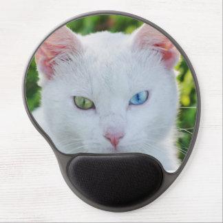 White cat, blue eye & green eye, gel mousepad. gel mouse pad