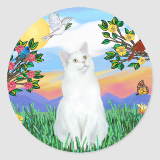 White Cat - Bright Life Classic Round Sticker
