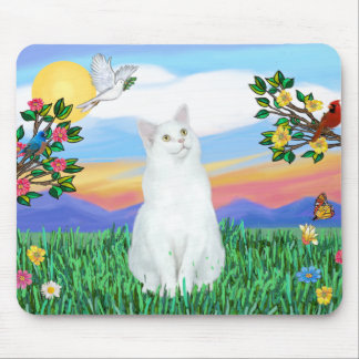 White Cat - Bright Life Mouse Pad