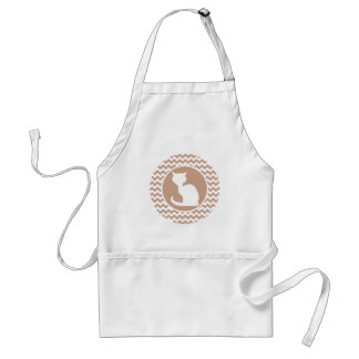 White Cat; Brown Chevron Adult Apron