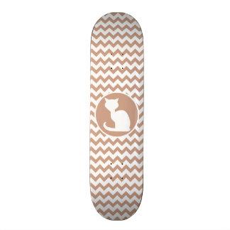 White Cat Brown Chevron Skateboard