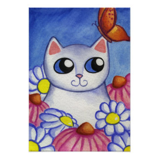 White Cat Butterfly Poster Print