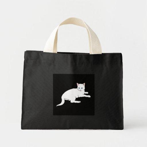 white cat canvas bag
