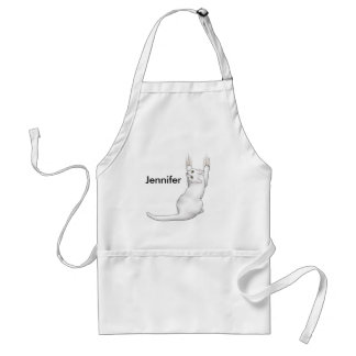 White Cat cartoon drawing scratching and tearing t Adult Apron