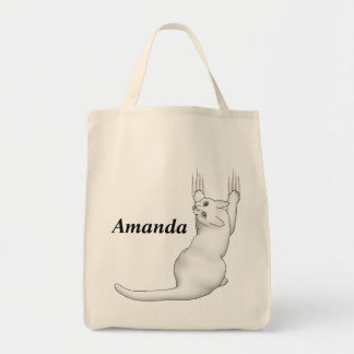 White Cat cartoon drawing scratching and tearing t Tote Bag