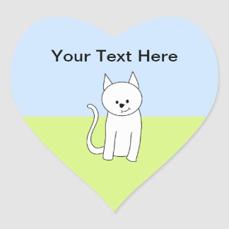 White Cat Cartoon Heart Sticker