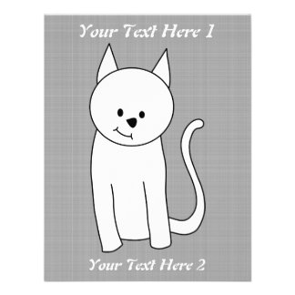White Cat Cartoon Personalized Announcements