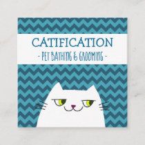 White Cat Cartoon Pet Service Bathing and Grooming Square Business Card