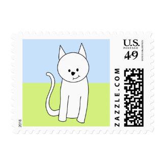 White Cat Cartoon Postage Stamp