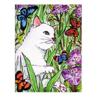 White cat chasing butterflies amongst flowers postcard