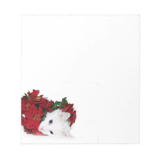 White cat Christmas Notepad