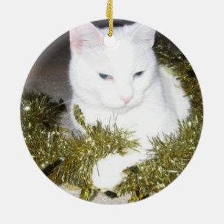 White Cat Christmas Tree Ornament