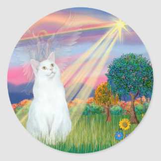 White Cat - Cloud Angel Classic Round Sticker