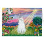 White Cat - Cloud Angel Greeting Card