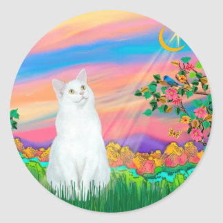 White Cat - Day Star Classic Round Sticker