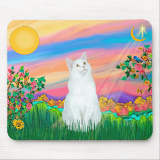 White Cat - Day Star Mouse Pad