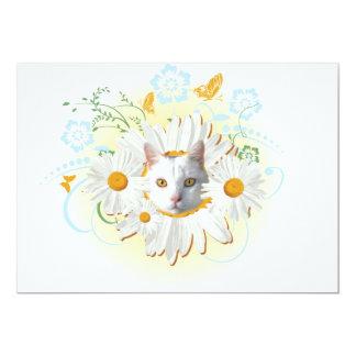 white cat design card