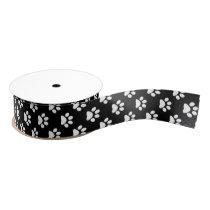 White Cat/Dog/Animal Paw Prints on Black Grosgrain Ribbon