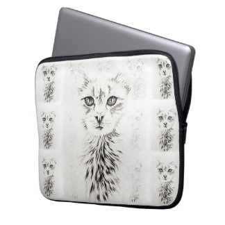 White Cat Drawing Chic Pet Portrait Computer Sleeve