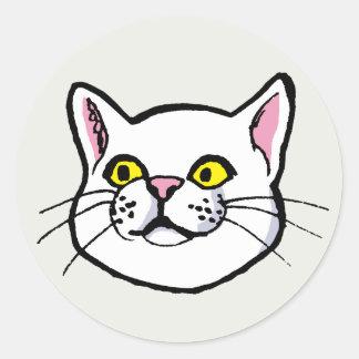 White Cat Drawing Round Sticker