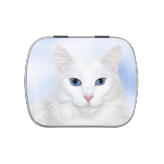 White cat face candy tins